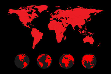 poster with red global world map with country borders globe and silhouette on black background, stock vector illustration clip art design element