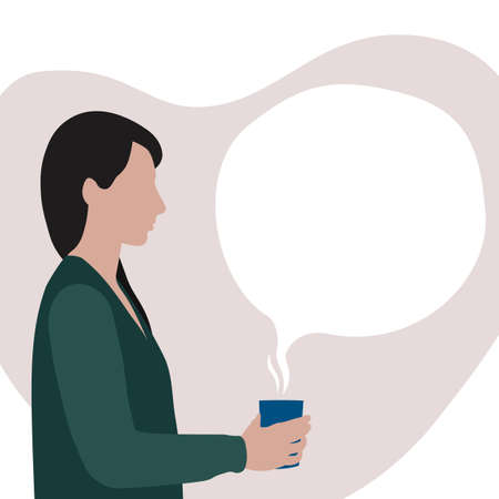 white woman with black hair in green cardigan holding cup with hot drink with spot shape bubble as copy space for text, stock vector illustration clip art in soft pastel colors