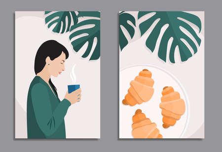 european woman with black hair in green cardigan standing with cup of hot drink and croissants on plate, with monstera background, stock vector illustration in soft pastel colors for diptych design