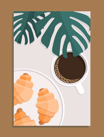 cup of hot coffee, baked croissants on plate and green monstera leaves, stock vector illustration vertical poster 向量圖像