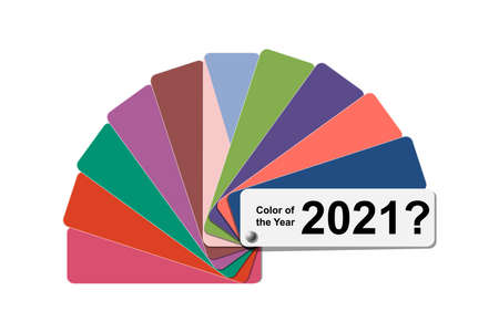 choice trend color of the year 2021 concept, fanned color palette sample swatch book guide, cotton fabric fan color bridge, stock vector illustration clip art template isolated on white background