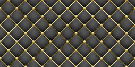 shiny gold round and black square rhombus geometric seamless pattern background, glitter golden button and dark leather upholstery texture, close-up stock vector illustration design element backdrop