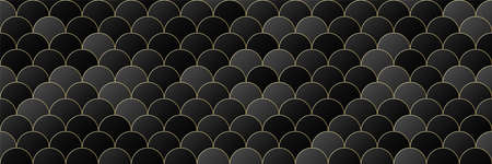 gold, black gradient color circle seamless pattern background, line geometric luxury texture, minimal design style, stock vector illustration panoramic backdrop for social media header, banner, link Illustration