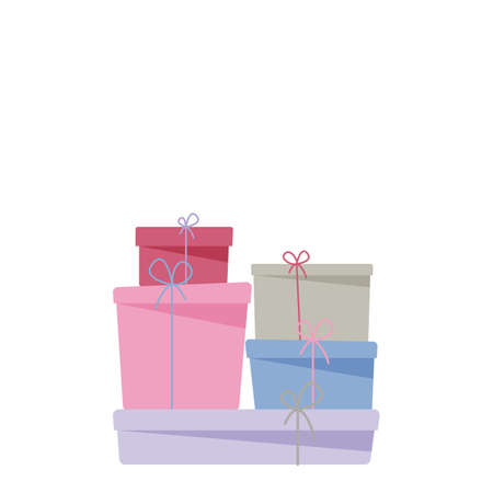 heap of closed gift boxes with ribbon and bow in flat style with shadow, stock vector illustration clipart, design element isolated on white background