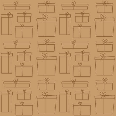 contour gift boxes seamless pattern on craft paper background, minimal design style, stock vector illustration backdrop for banner, poster, card, fabric, textile Illustration