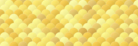 Shiny gold gradient color circle seamless pattern background, line geometric luxury texture, minimal design style, stock vector illustration panoramic backdrop for social media header, banner, link