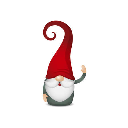 Scandinavian gnome with red hats and green clothes keep your hand up and wave, cute nordic tomte, stock vector illustration character clipart isolated on white background, design element