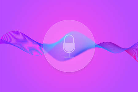 colorful gradient curve sound waves with microphone icon in glass circle, stock vector illustration with modern glassmorphism style effect Illustration