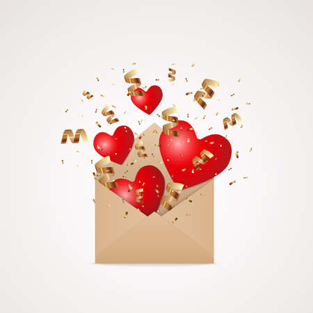 Open kraft brown paper envelope with flying and falling red hearts and golden glitter confetti explosion, festive stock vector illustration design element isolated on white background