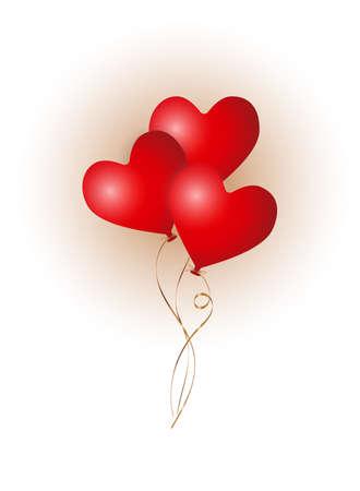 tre 3d matt red flying heart balloons with golden ribbon, vertical stock vector illustration clipart for banner, postcard, post design
