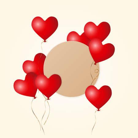 3d matt red flying heart balloons with golden ribbon and brown kraft paper border label, stock vector illustration layout, design element for banner, poster, card design
