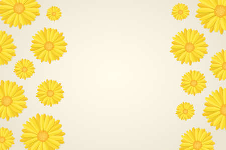top view of yellow calendula or marigold flower buds pattern in flat style, floral botanical frame background, blank stock vector illustration template for web banner, poster, or header design Illustration