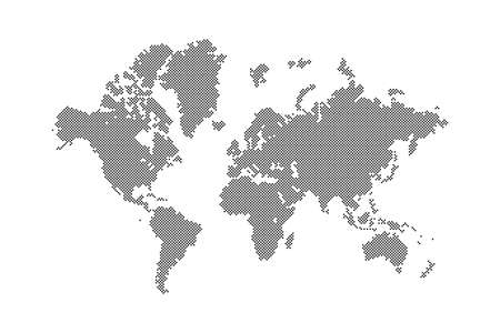 dotted blank world global map continents and oceans silhouette in black color with small round spots and circle dots, stock vector illustration clip-art, design element isolated on white background