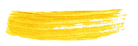 yellow gold colored doodle smear stroke isolated on white backgrounds, hand-drawn golden acrylic paint brush, abstract festive texture, stock photo illustration