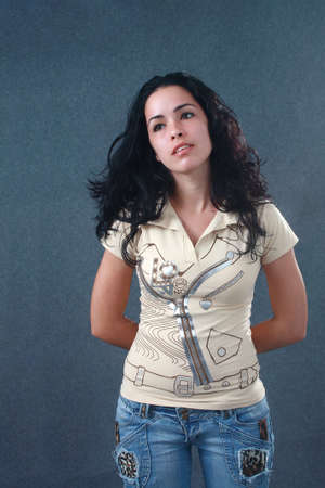 angelical: Beautiful cuban girl looking at a side