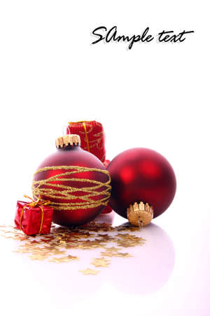 sample text: Bolas de Navidad y el lugar de texto de ejemplo Foto de archivo