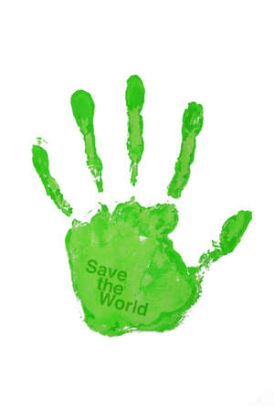 Hand print green color save the world  Stock Photo - 8795006