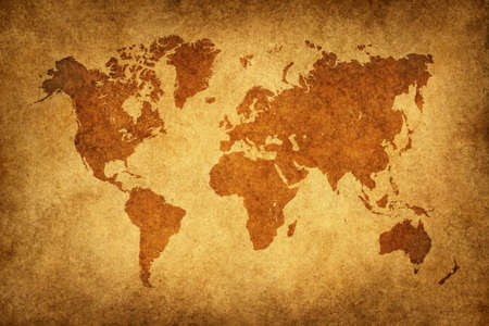 World map in vintage pattern photo