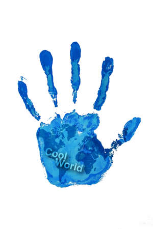 Hand print blue color on world map Stock Photo - 8795053