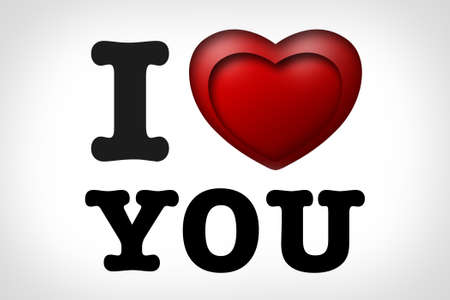 I love you with 3D heart photo