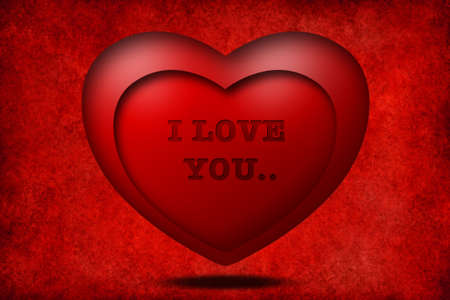 I love you with red 3D heart Stock Photo - 8795055