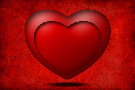Red heart 3D on old red background