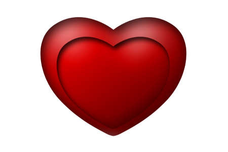Red heart 3D on white background photo