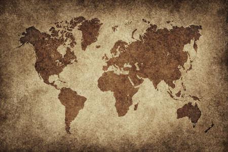 World map in vintage pattern photo