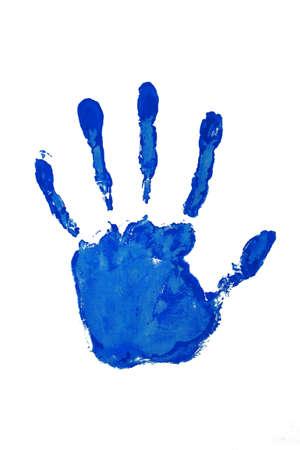 Hand Drucken blauen Farbe
