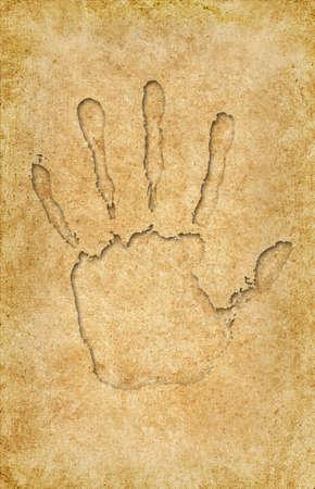 Hand print on vintage pattern  Stock Photo
