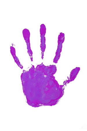 Hand print violet color Stock Photo