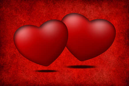 Two hearts on red background photo
