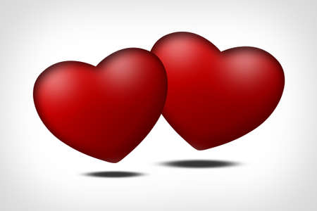 Two red hearts - symbol of love photo