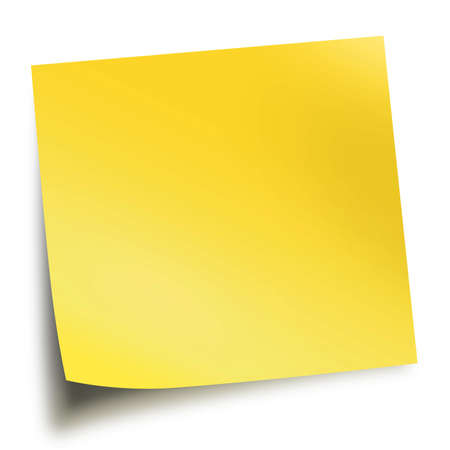 yellow note: Yellow memo stick isolated on white background with soft shadow Stock Photo