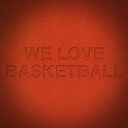 Arrière-plan de basket-ball avec du texte, nous aimons basketball