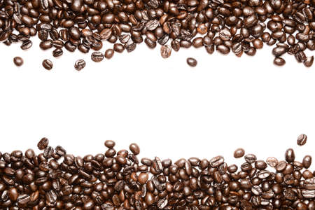 Coffee beans stripes isolated in white background Stock Photo