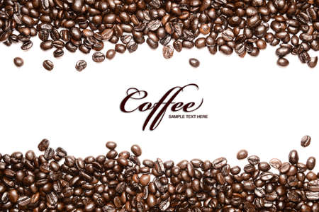 Coffee beans stripes isolated in white background, with copyspace