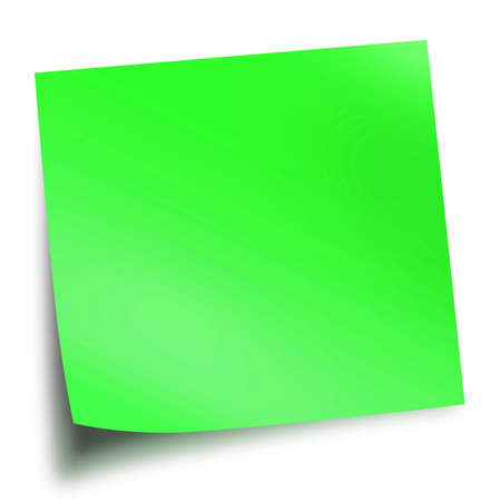 Green memo stick isolated on white background with soft shadow