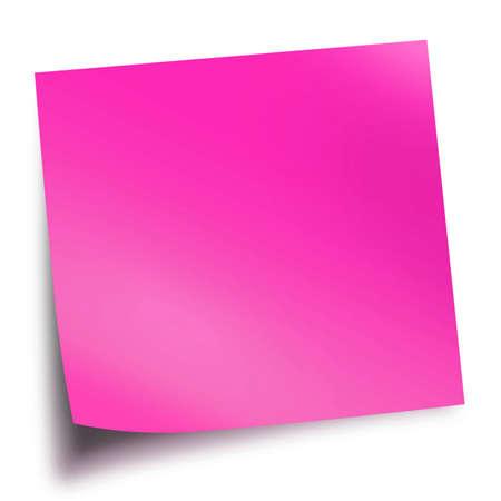Pink memo stick isolated on white background with soft shadow