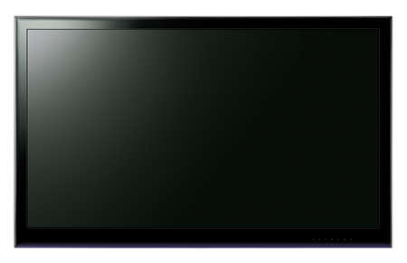 Widescreen LCD TV hanging on white wall
