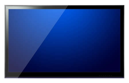 lcd display: Full HD TV screen on a white wall