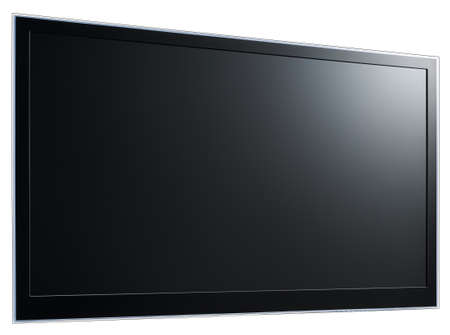 Modern widescreen lcd tv hanging on white wall Stock Photo