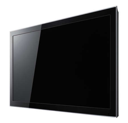 Modern widescreen lcd tv hanging on white wall  photo