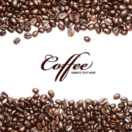 Coffee beans Streifen in white Background with Copyspace isoliert