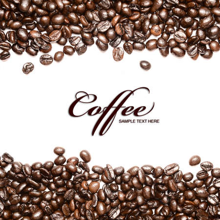 Coffee beans stripes isolated in white background, with copyspace Stock Photo - 9381945