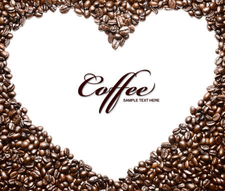 Heart shape made from many coffee beans  Stock Photo