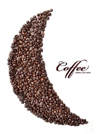 cafe colombiano: Luna hecha de caf� tostado sobre un fondo blanco