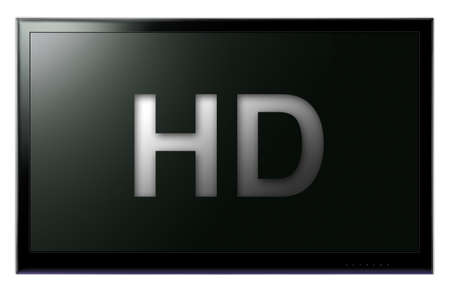 Flat screen HD television hanging on white wall Stock Photo