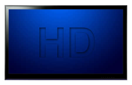 Modern LCD HD TV hanging on white wall
