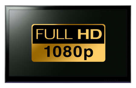 Full HD TV hanging on white wall Stock Photo